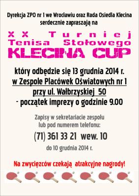 Plakat KLECINA CUP'14